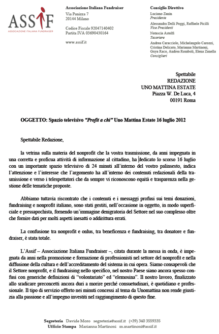 Lettera ASSIF