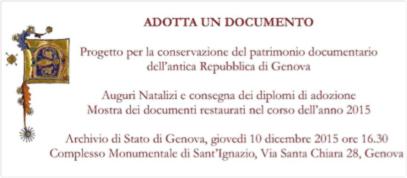 """Campagna """"Adotta un documento"""" - Archivio di Stato di Genova"""